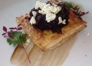 Pickled red cabbage, cranberry, apple & feta puffs