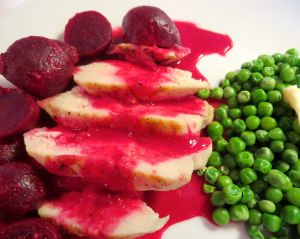 Beetroot, white wine and peanut chicken