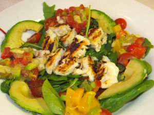 Cod with citrus and avocado dressing
