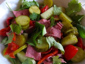 salt beef and gherkin salad in a mustard dressing